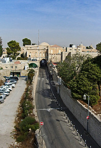 30-Street of The Armenian Patriarchate, looking north from the south city wall. Armenian Quarter is to the right.