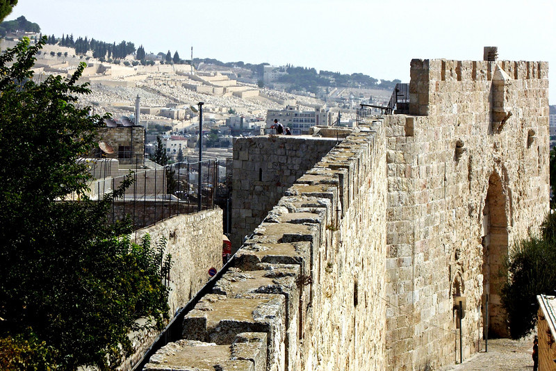 33-South City Wall, looking east to Mount of Olives and Zion Gate