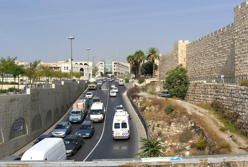 16-Looking north along Jaffa Road from pedestrian bridge from Mamilla Mall to the Old City