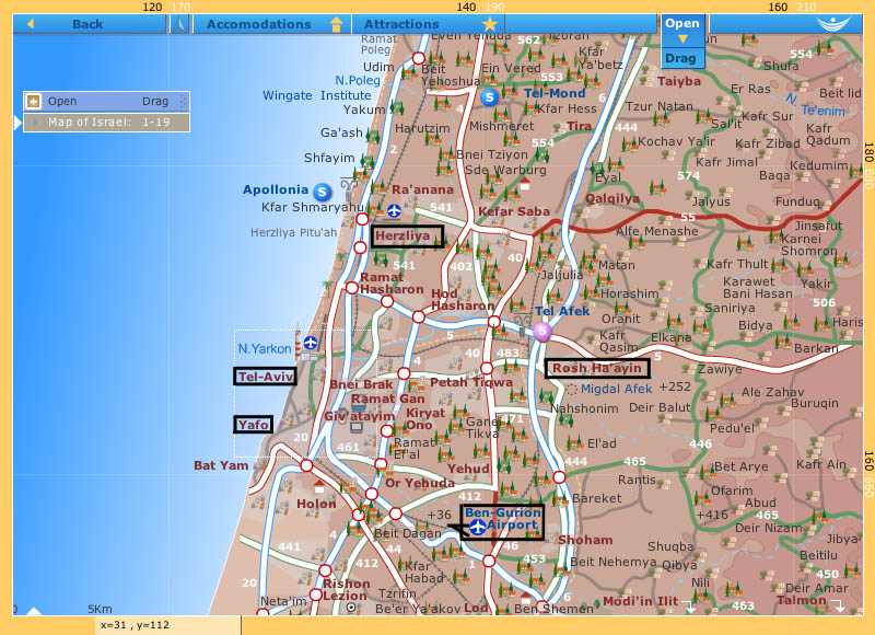 www.eyeonisrael.com/map_Israel.html. This gallery has photos looking toward Yafo (Jaffa). Eli and family live in Rosh Ha'ayin. I went to Herzliya twice; Netanya and Kfar Netter (Aner family) are north, just off the map.