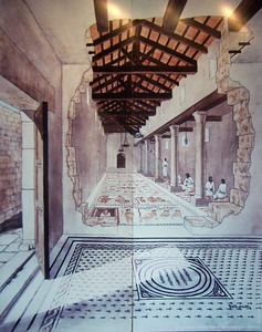 10-Interior of Tzippori Synagogue, late fifth century. The town's Christian population was increasing; Jewish population was decreasing. The building is just 68 ft. long by 26 ft. wide—the narrowest synagogue in ancient Israel. On the floor between the columns are inscribed medallions. To the left of the columns is a central hall with a mosaic floor divided into seven rectangular frames, the zodiac at its center.