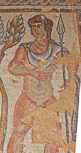 9-Last photo from the Nile mosaic: An Amazon—one of several in a hunting scene.