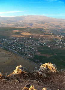 7-Looking north from The Arbel to Safed on the horizon