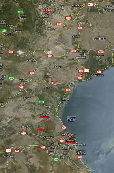 0-Map showing Tiberias, Arbel, Hamam, and Safed