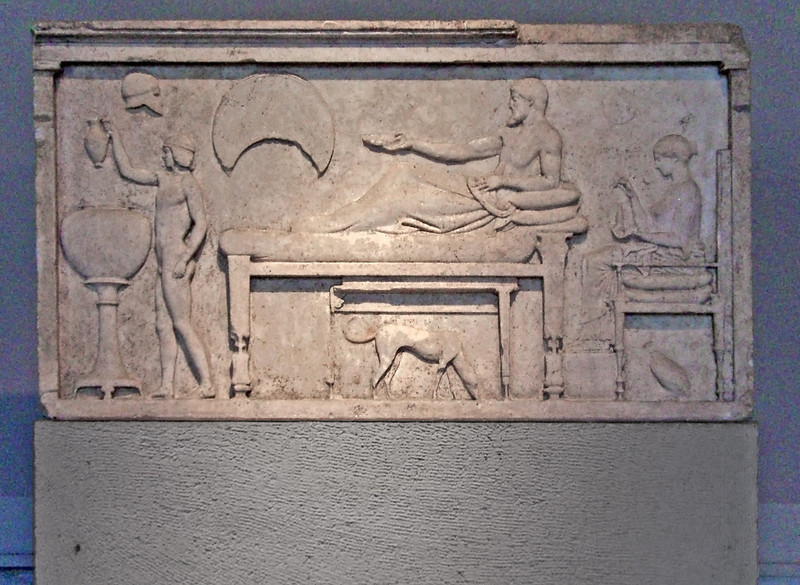 1-Archaeology Museum, Funeral Stele-Banquet Scene, 480 BC