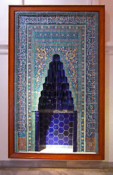 23-The Karaman tiled niche Mihrab, 1432, SE Turkey. A mihrab is a niche in the wall of a mosque, at the point nearest to Mecca, toward which the congregation faces to pray.
