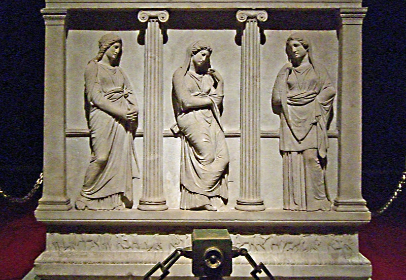 20-Short (end) panel, Sarcophagus of the Mourning Women, mid-4th century BCE. A masterpiece of Hellenistic sculpture, representing mourning women around the grave. One of a group of sarcophagi found in 1887 in Sidon, it belonged to Abdalonymos, last king of Sidon.