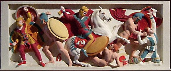 19-Reconstruction model, showing how the Alexander Sarcophagus was painted in polychromes. Never go into battle with just your helmet.
