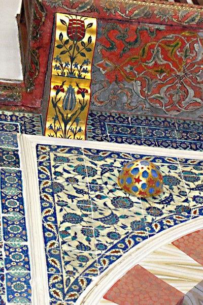 23-Rustem Pasha Mosque. These tiles exhibit a tomato-red color characteristic of the early Iznik period (1555-1620). No other mosque in Istanbul makes such a lavish use of these tiles.