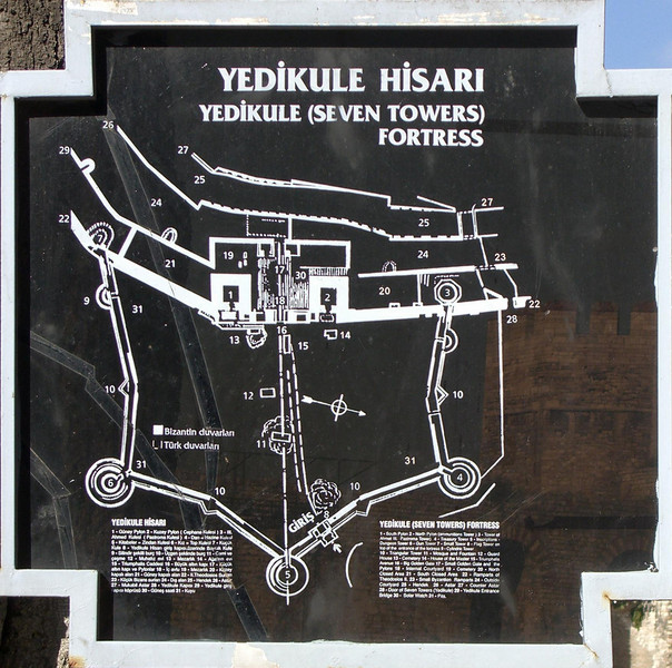 1-The Fortress of the Seven Towers is located at the south end of the Old City's land walls, where they meet the sea walls. Three towers were added to the original four in order to protect the Treasury.