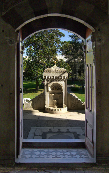 8-Topkapi Palace, Library of Ahmet III. From the entry door looking out to the fountain and the third courtyard.