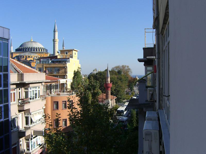 157.Hagia Sophia (Aya Sofya), Yerebatan Ave, and Marmara Sea from my hotel room.