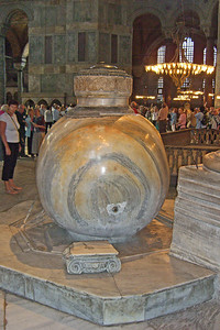 68. Hagia Sophia (Aya Sofya). Two huge marble lustration urns were brought from Pergamon during the reign of Sultan Murad III. Originally Hellenistic, this jar is 2m tall and was carved from a single block of marble.