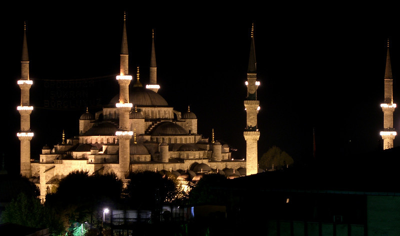27. The Blue Mosque is significantly newer (1609-1616), seen here from the Adamar Hotel roof terrace. The mosque's six minarets were considered a sacrilegious attempt to rival the architecture of Mecca.