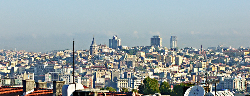 32. Beyoglu—on the European side, but north of the Golden Horn. The Galata Tower (conical roof) is on the left.