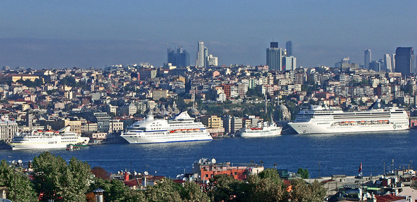 30. Golden Horn and cruise ship terminal from hotel roof.