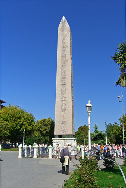 126. Hippodrome, Egyptian obelisk, c. 1450 BCE. 26m high (85 ft.), it stood in front of the Temple of Luxor. Brought to Constantinople in 390 CE by emperor Theodosius I.
