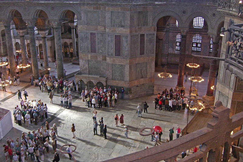 69. Hagia Sophia (Aya Sofya) interior, seen from the mezzanine, about 15m above the main floor. The interior height (floor to top of dome) is 55.6m (182 ft).
