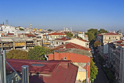 40. Suleyman Mosque on the horizon, looking NW along Professor Ismail Gurkan Street from our hotel roof terrace.