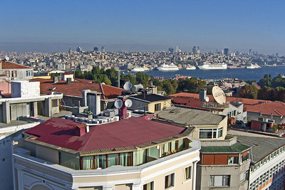 29. Beyoglu, Golden Horn, and cruise ship terminal from hotel roof.