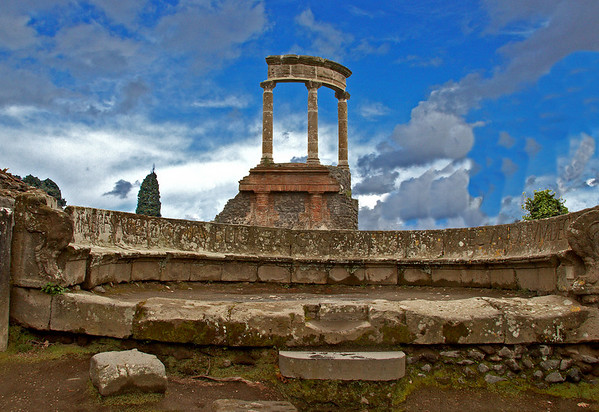 #0449 Pompeii Tholos<br /> Tholos behind the Forum in Pompeii.The Forum were the religious and civic center for the town. Pompeii was destroyed in Augest 79 AD when the volcano, Mount Vesuvius erupted for two days burying the city in ash and pumice. The city was rediscovered in 1748 and excavation started.