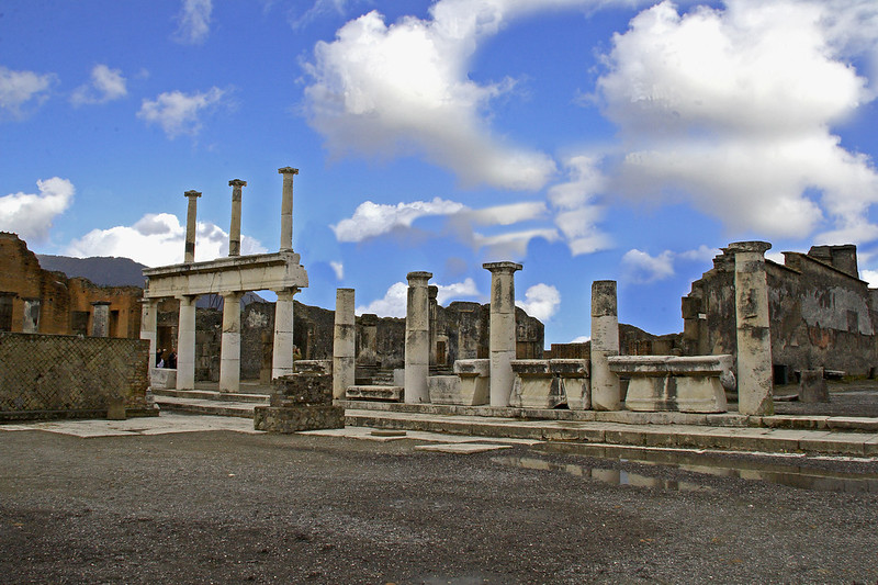 #0415 Pompeii Forum <br /> <br /> The Forum were the religious and civic center for the town. Pompeii was destroyed in Augest 79 AD when the volcano, Mount Vesuvius erupted for two days burying the city in ash and pumice. The city was rediscovered in 1748 and excavation started.