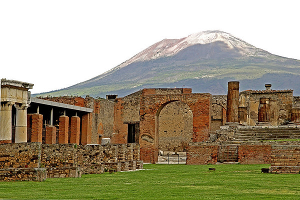 #0416 Mount Vesuvis<br /> Forum area with Mount Vesuvis in the foreground. The Forum were the religious and civic center for the town. Pompeii was destroyed in Augest 79 AD when the volcano, Mount Vesuvius erupted for two days burying the city in ash and pumice. The city was rediscovered in 1748 and excavation started.