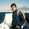 On the Capri ferry in 1988, with Vesuvius in the distance.