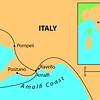 200 miles SE of Rome on the Amalfi Coast.