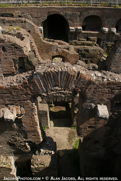 Colosseum <br /> Under the arena floor were: catacombsfor galdiators, Christians, etc., animals and thier Roman guards