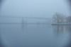 Looking towards the Norris Whitney bridge in fog. Lightroom dehaze 75.
