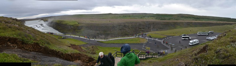 Gullfoss waterfall with lower parking and walkway