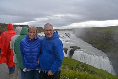 Gullfoss waterfall -- Janice is cold