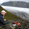 Deric enjoying the glacier view and some 'backpacker' instant cheesecake I just made, loaded up with icelandic blueberries. They were growing everywhere in September.