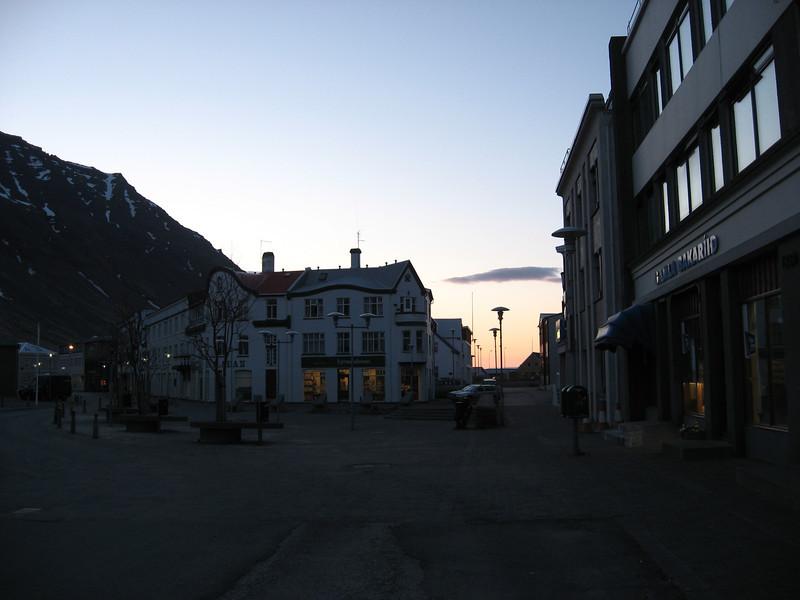 Ísafjörður, Iceland, late at night in town.