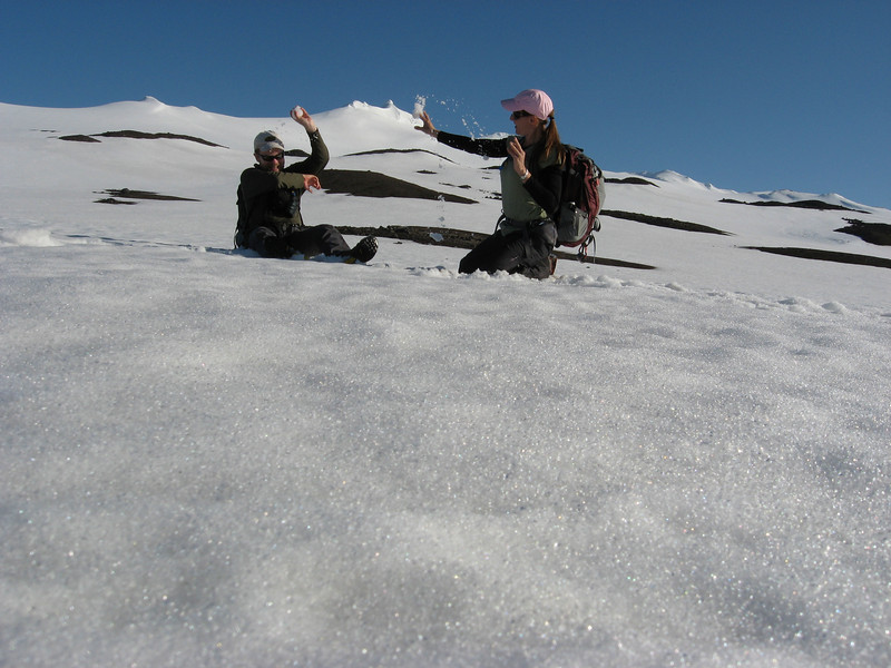 Snowball fight on a glacier!