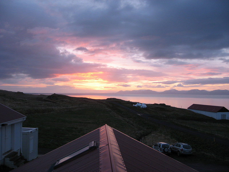View from our room at about 3am in North Iceland, Ósar Hostel