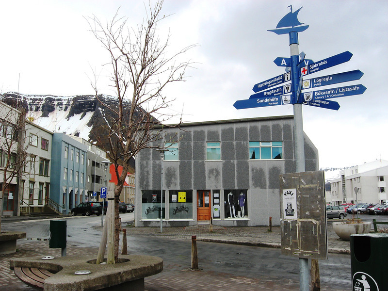 Ísafjörður, town center.