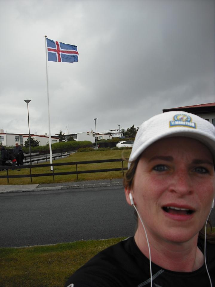During the half-marathon.  Iceland flag in background.