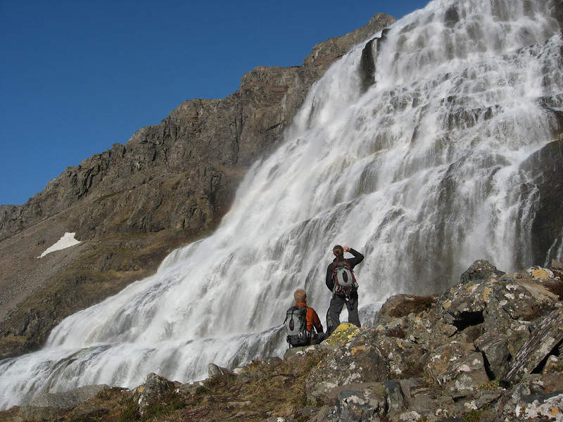 Dynjandi - the biggest waterfall in Westfjords Iceland. This is is the top level after a half hour or so of climbing.