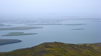 View of Reykjavik from a hike from top of Esja. The hike was crowded with Icelanders trying to get some exercise, trail running and hiking.
