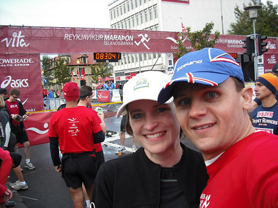 At the start of the half-marathon.