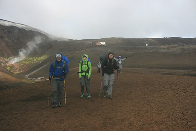 Leaving the hut at Hrafninnusker in wind and rain.