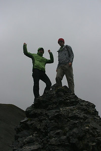 Aunika & Shane summit the lava formation.