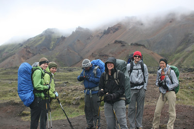 So we're off from Landmannalaugar, on our way to Thorsmork over 4 days.We are not wet yet.  That will change soon.