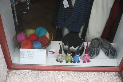 Cute wool items in store window.