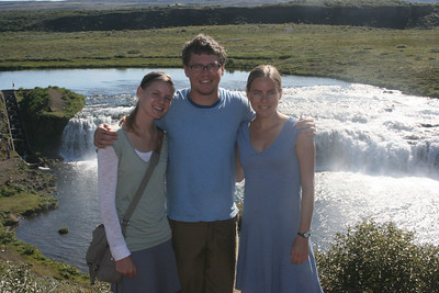 Aunika, Tyler and Kjirsten at Faxi waterfall.