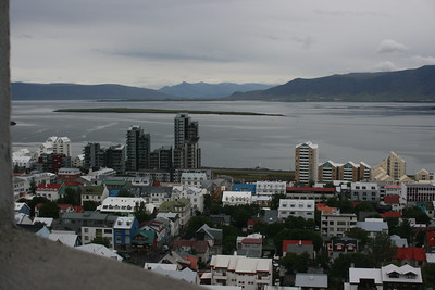 View of Reykjavik from the top of Hallgrimskirkja church.