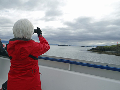 Connie on ferry to Flatey Island