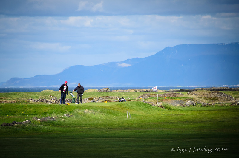 Golfers at the Golf Course in Vogar
